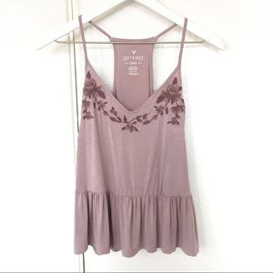 AEO | Soft & Sexy Floral Embroidery Peplum Tank